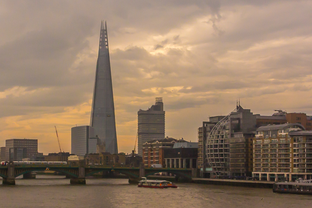 The Shard and some of its Bankside neighbors near Southwark Bridge. The building with the barrel-shaped exoskeleton is the Ofcom Riverside House.
