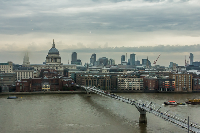View of the Millennium Bridge and St Paul's from the Tate Modern.