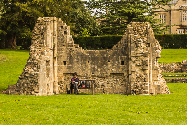 There are benches all over the abbey grounds for resting, meditating, or even crocheting.