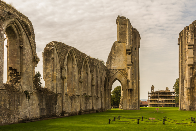 Inside the ruins of the Great Church facing West. The Lady Chapel is in the background.