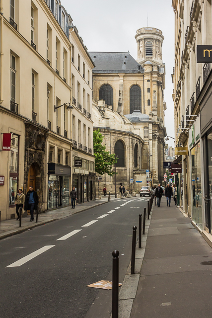 The rear and north tower of Saint-Sulpice from two blocks away on Rue Saint-Sulpice.