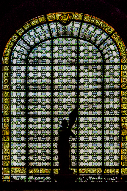One of many stained glass windows at Saint-Sulpice.
