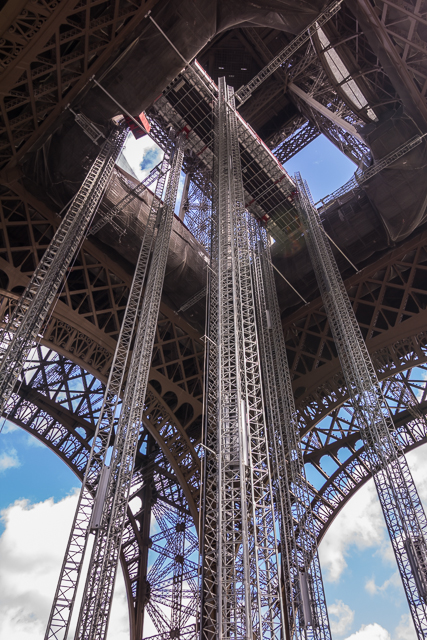 Underneath the Eiffel Tower.