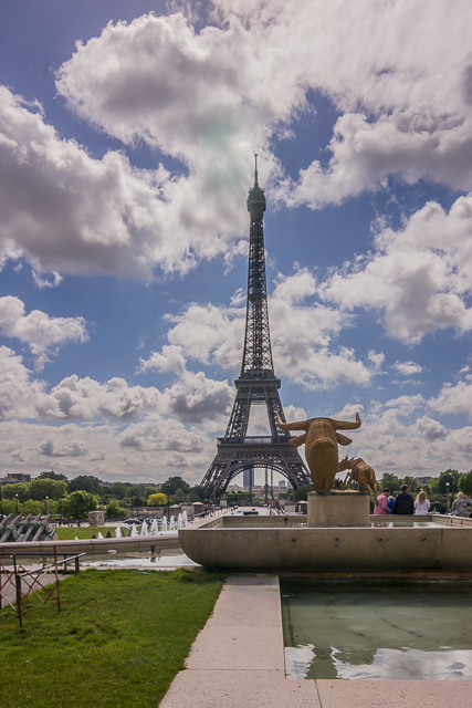 The Eiffel Tower from the Trocadero across the river.