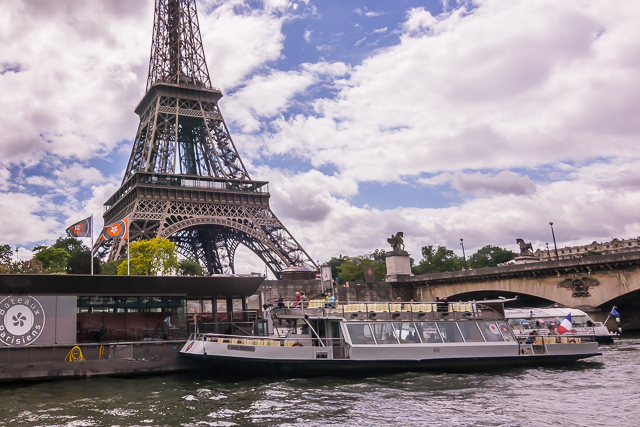 View of the Eiffel Tower from the Seine.