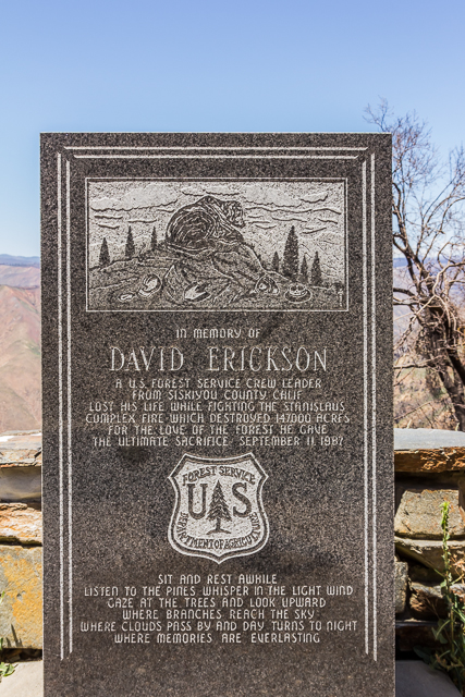 There are two memorials at the Rim of the World Vista Point. This one is dedicated to xx who died in 1986.