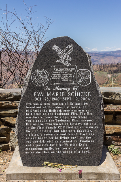 Memorial to xx who died in 2004. There are no reported deaths from the Rim Fire.