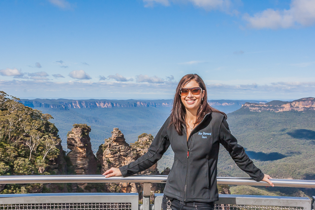 Alena, our Blue Diamond Tour guide, at Echo Point Lookout.