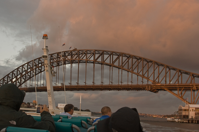 Approaching Sydney Harbor Bridge.