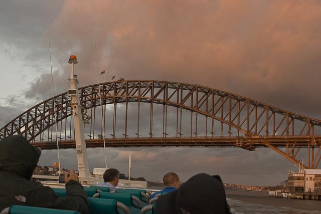 Approaching Sydney Harbor Bridge.
