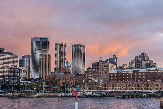 Sydney skyline at sunset.