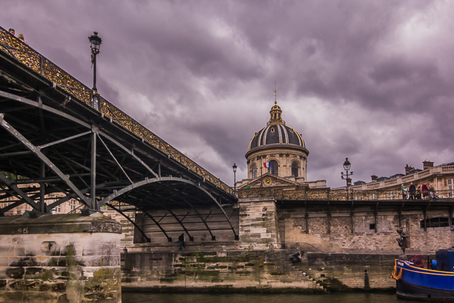 We're about to pass under the Pont des Arts.