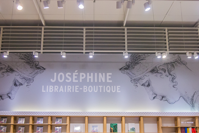 The bookstore at the Musée du Luxembourg. Joséphine's image is from a drawing by Jacques-Louis David.