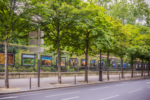 Some of the World War I battlefields photos on the fence of the Luxembourg Garden.