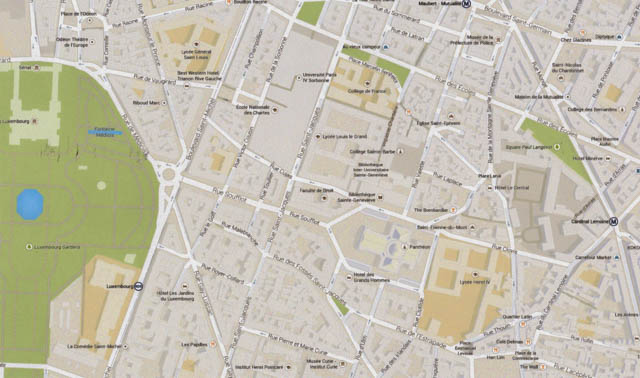 Google Map of Luxembourg Gardens and Pantheon neighborhoods, 5th and 6th arrondissements.