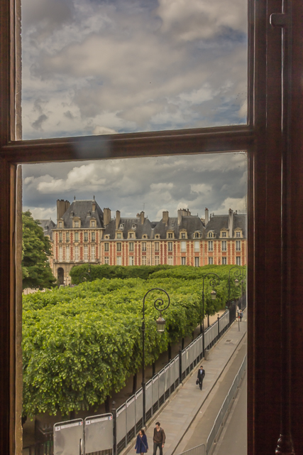 View of Place des Vosges from a window in Maison de Hugo.