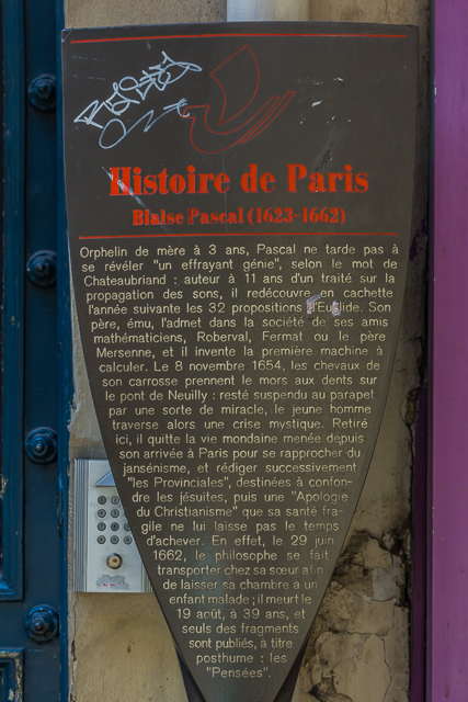 Plaque on the wall of 54 Rue Monsieur le Prince where Blaise Pascal lived. The Pascal programming language was named after him.