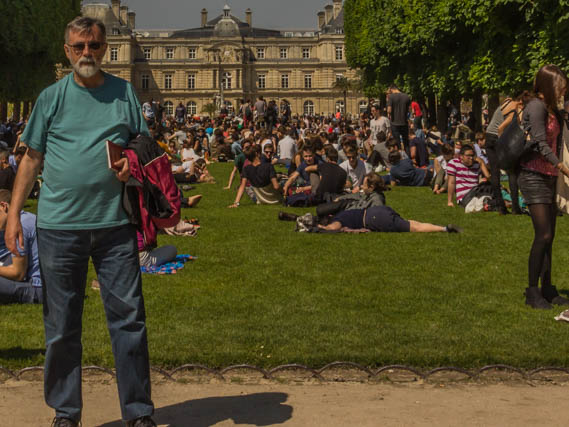 Me among the millions. That's the Luxembourg Palace in the background. It now houses the French Senate.