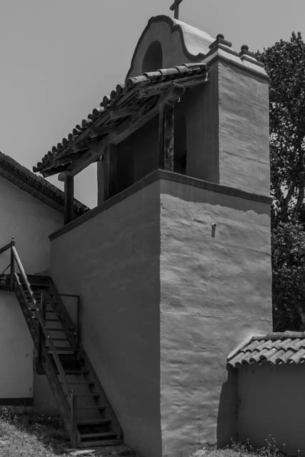 The back of the Mission's Bell Tower.