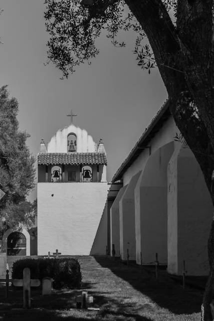 The Mission cemetery behind the Bell Tower. There are more than 1600 members of the Chumash tribe buried here.