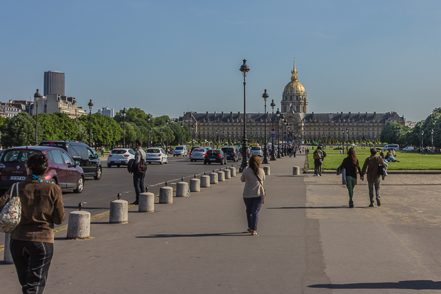 View of Les Invalides from  the Grand Palace, the Petit Palace and the Pont Alexandre III.