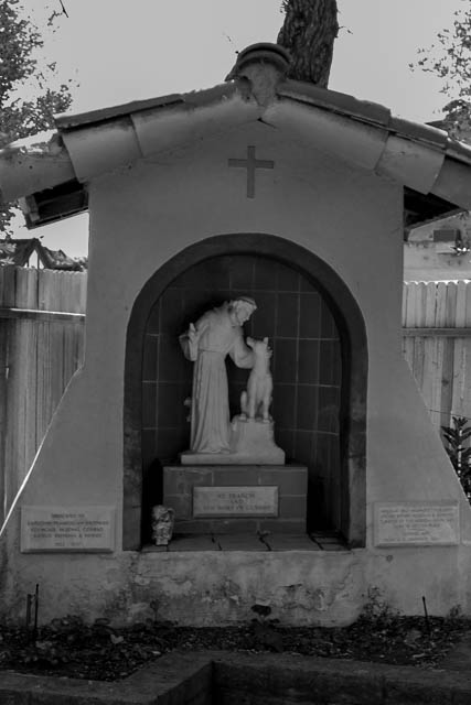 St Francis shrine in a corner of the garden. The shrine is dedicated to the Capuchin Franciscan brothers who came to Santa Ines from Ireland in 1924.