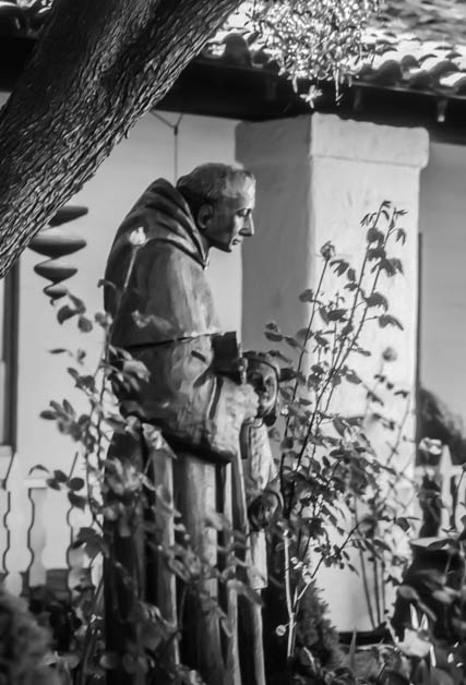 Statue of Junipero Serra in the Mission garden. This is my entry to this week's Monochrome Madness Challenge.