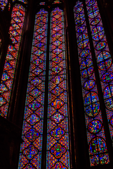 The stained glass windows tell stories from the Bible.