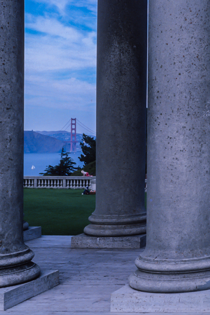 The Golden Gate Bridge from the front entrance columns of the Palace of the Legion of Honor.