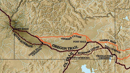 Map of the Oregon Trail in southern Idaho (thanks to Idaho Public Television).*