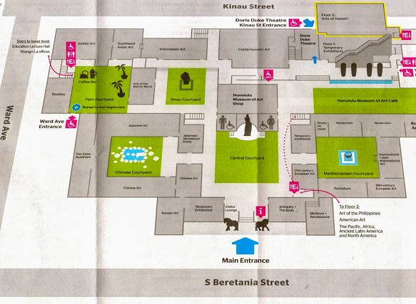 museum map, courtesy of the Honolulu Museum of Art