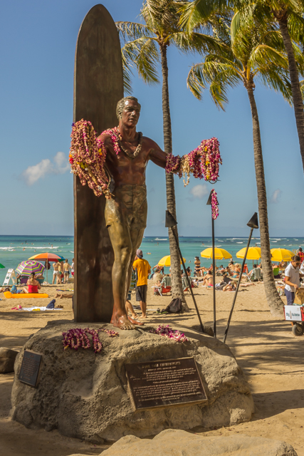 The Duke Kahanamoku statue on the beach near the police sub station and across from the Hyatt Regency.