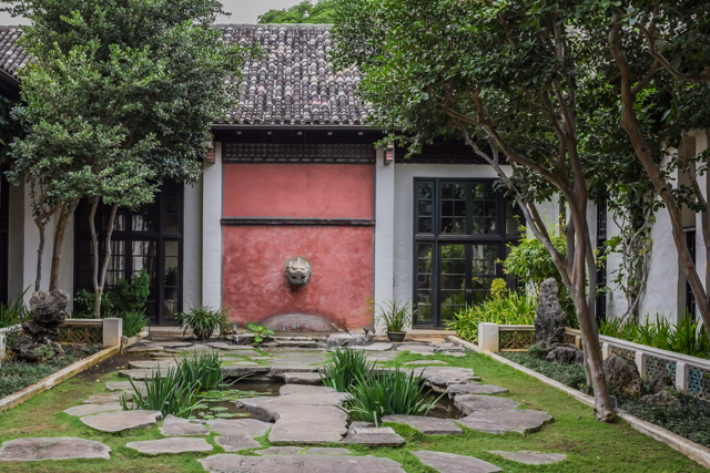 The x courtyard is surrounded by Asian art galleries.