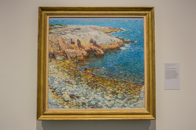 """""""Isles of Shoals, Broad Cove,"""" Childe Hassam, 1911, oil on canvas, 33 1/2 x 35 3/8"""", Honolulu Museum of Art."""