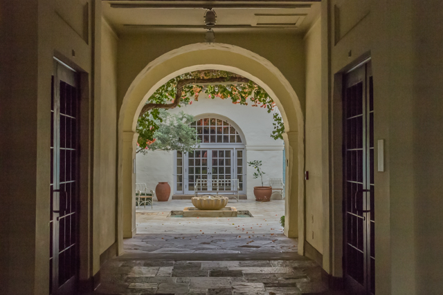 View of the Mediterranean courtyard that surrounds American and European art galleries.