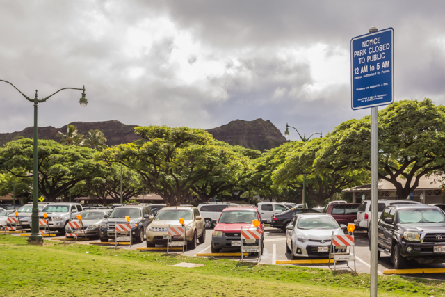 View of Diamond Head from Monseratt Street which separates Kapiolani Park from the Honolulu Zoo.