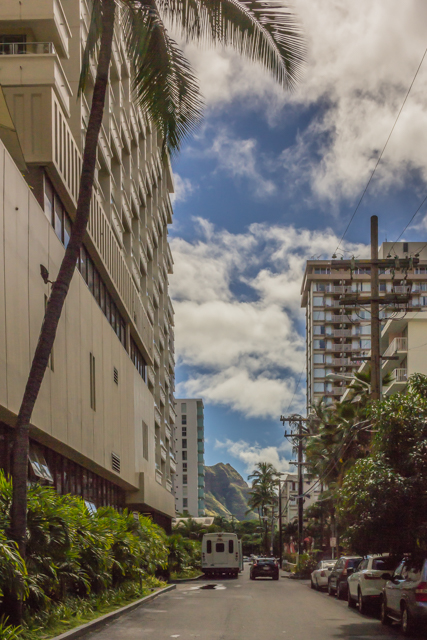 Looking down Cartwright Street from Paoakalani toward Diamond Head. That's the Hyatt Place hotel on the left.
