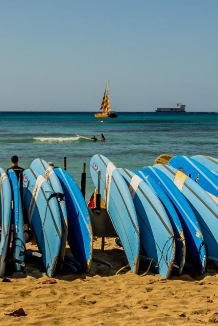 Surfboards on Waikiki Beach.