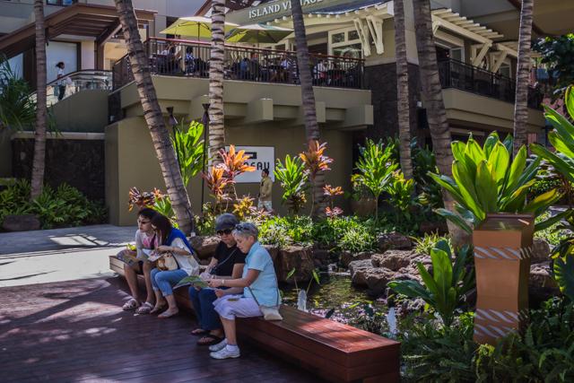 This bench is near the main entrance to the Royal Hawaiian Center on Kalakaua Avenue.