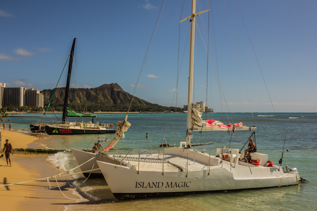 Catamarans parked near the Halekalani. My sister Betty boarded the Island Magic for a 90 minute sunset cruise that cost $44.00 and included all drinks. She saw a whale breech, several dolphins jumping and a beautiful sunset.