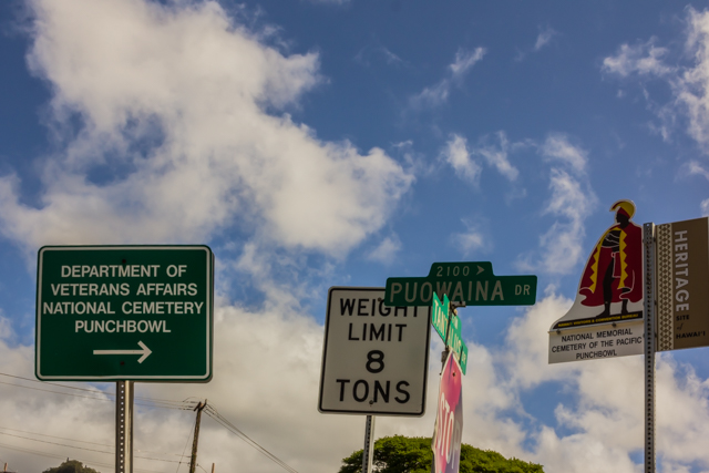 Signs on the corner of Pouwaina and Tantalus.