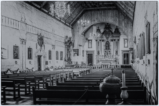Replica of original 1809 adobe church which was destroyed by an earthquake in 1868. This is my entry to Leanne's Monochrome Madness 2-4.