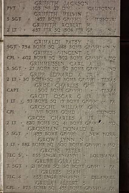 Some of the names of MIAs on one of many walls that flank the memorial's staircase.