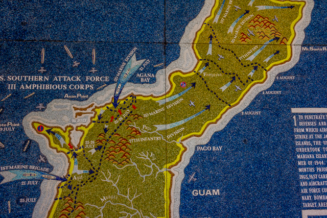 Details of the Allied landings at Asan and Agat.