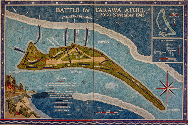 The Battle of Tarawa lasted three days with casualties equaling those of Guadalcanal which lasted six months.