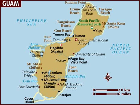 Map of Guam. The island is 30 miles long, 12 miles wide at its widest and 4 miles wide at its narrowest.