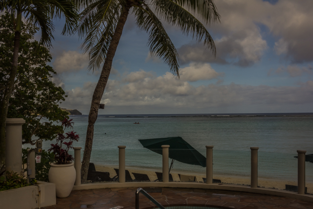 View of Tumon Bay from our hotel pool area.