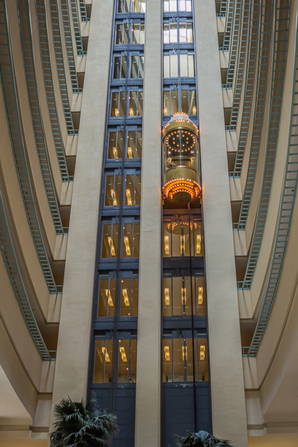 Glass elevator and atrium-like atmosphere inside the Westin.