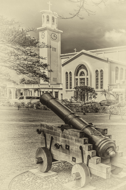 Cannon and Cathedral. My entry to Leanne's Monochrome Madness Challenge 2-11.