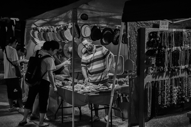 Hats and trinkets for sale at Market Night in Chamorro Village.